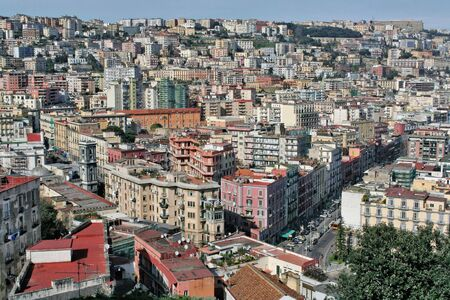 View of Naples, a crowded metropolis in Italy.