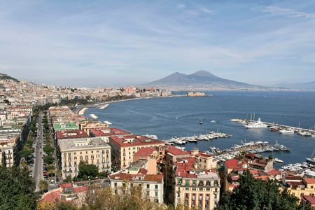 A panorama of Naples, Italy, with Mt. Vesuvius Stock Photo
