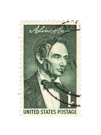 slaves: A commemorative vintage US stamp of president Abraham Lincoln
