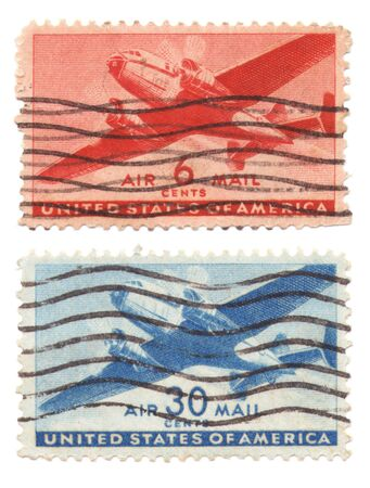 A collection of vintage US Air Mail Stamps dated 1946, six cents and 30 cents Stock Photo