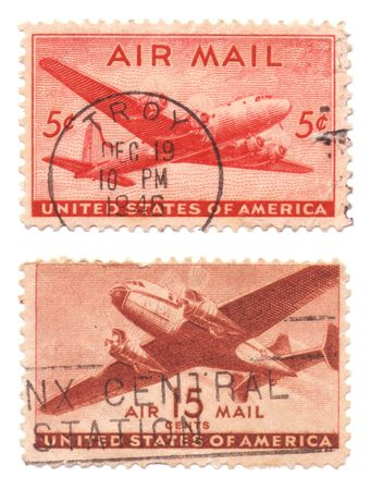 A collection of vintage US Air Mail Stamps dated 1946, five cents and 15 cents