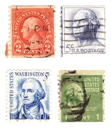 A collection of vintage US stamps with US Presidents George Washington Editorial