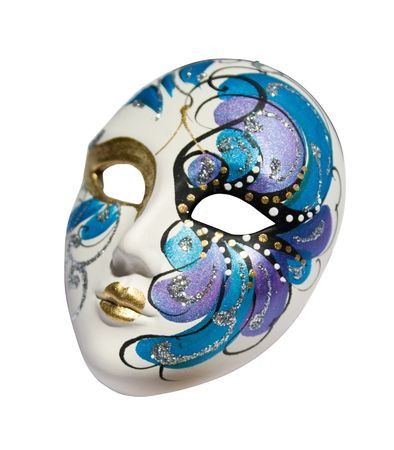 Handmade carnival venetian mask made of porcelain ceramic isolated over white background with clipping path