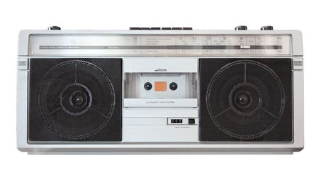 Vintage boom box radio isolated on white with clipping path