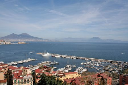 A panorama of Naples, Italy, with its marina and  Mt. Vesuvius in the background Stock Photo