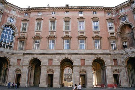 An interior facade of the Royal Palace of Caserta, near Naples, Italy photo
