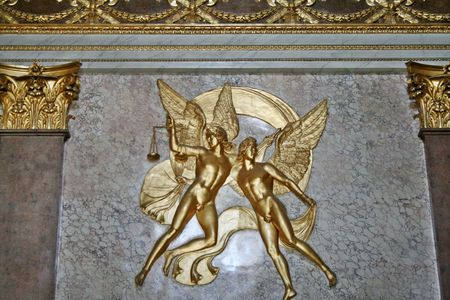 neoclassic: A neoclassic style decoration of two angels on a wall at royal palace of Caserta in Italy.