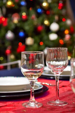 Two cups in a table setting for celebration (christmas,new year,weddings)