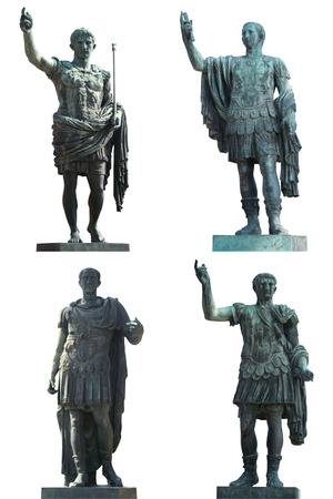 Four Roman Emperors statues (Augustus Caesar, Julius Caesar,Nerva and Trajan). Bronce, isolated on white. Rome, Italy.