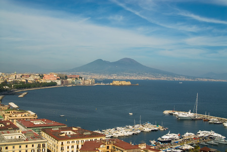 A panorama of the gulf of Naples, Italy, with Mt. Vesuvius in the background