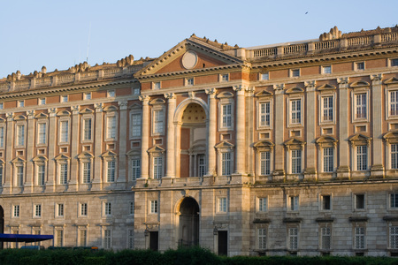 The Royal Palace of Caserta, near Naples in Italy. Facade looking on to the garden.