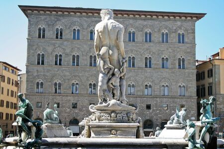 Rear view of Neptune Fountain in Piazza della Signoria (next to Uffizi Gallery), Florence, Italy
