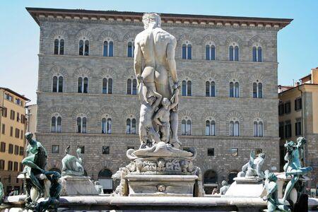 Rear view of Neptune Fountain in Piazza della Signoria (next to Uffizi Gallery), Florence, Italy