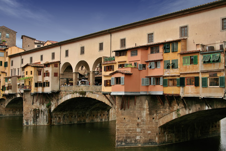 Ponte Vecchio (old bridge) in Florence Italy. This is a two floor bridge: the upper floor was reserved to governors and vip. Stock Photo