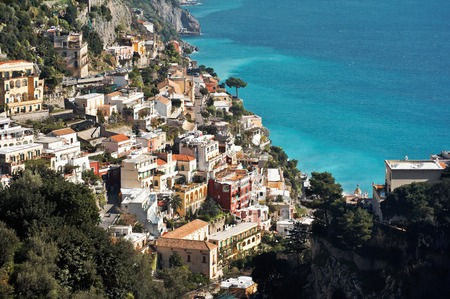 View of Positano, a town in the Amalfis coast in Italy. UNESCO World Heritage Site Stock Photo