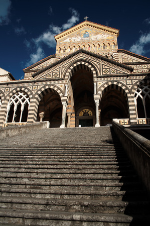 Facade of Saint Andrews cathedral or Cattedrale di S.Andrea in Amalfi covered with Byzantine mosaics, Amalfi, Amalfi coast, Unesco world heritage,Italy photo