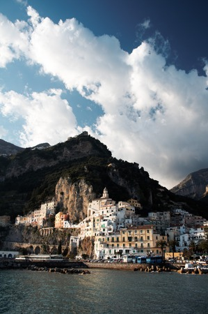 picturesque: A view from the sea of Amalfi, a picturesque town in Southern  Italy