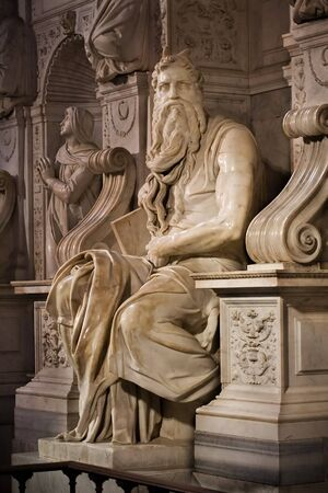 Michelangelos Moses in San Pietro in Vincoli, Rome,Italy Stock Photo