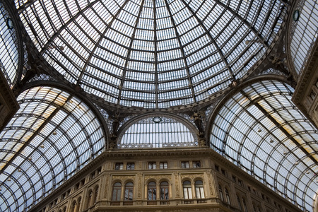 Detail of the glass roof of Galleria Umberto I, a 19th century public gallery in Naples, Italy