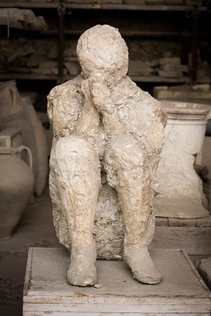 bury: Victim of the eruption of Mt.Vesuvius that buried Pompeii.