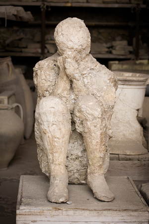 mummified: Victim of the eruption of Mt.Vesuvius that buried Pompeii.