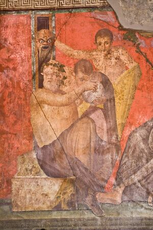 Fresco from Pompeiis Villa of Mysteries. Italy Stock Photo