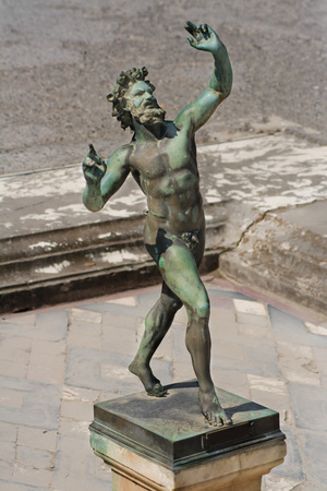 Antique statue of a Satyr, from Pompeii, Italy.