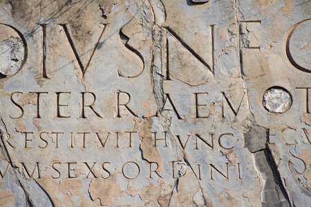 past civilizations: Ancient latin script carved into marble. Ruins at Pompeii, Italy