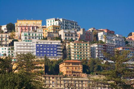 and distinctive: View of distinctive apartment buildings in Naples, Italy Stock Photo