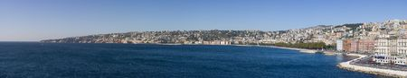 Highly detailed XXL panorama of Naples, Italy. View of the coastline, touristic zone of Mergellina and Posillipo.