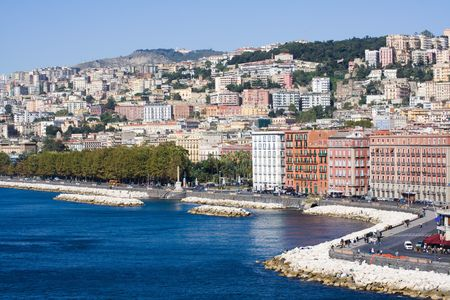 Naples, Italy. View of the coastline at the touristic zone of Mergellina. photo