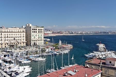 View of the marina of Naples, Italy, in the touristic zone of Mergellina Stock Photo