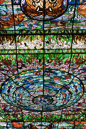 Stained-glass window that decorates the vaulted ceiling at the Stained-glass Plaza. Xcaret, Riviera Maya, Mexico