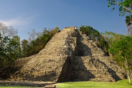 Coba Main pyramid, Nohoch Mul, highest Maya pyramid standing 40 Meters above the Mexican jungle