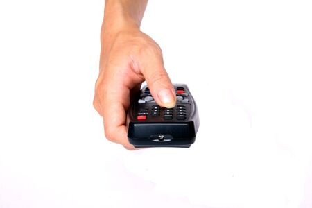 absolutism: Women hand, click on button, turn off, tv