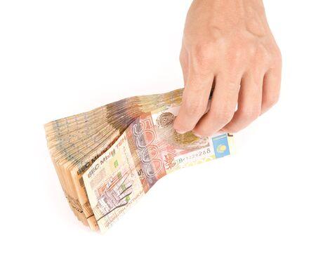 cash in hand: Aislados pila de dinero, las finanzas, los negocios, de color blanco, efectivo, mano Foto de archivo