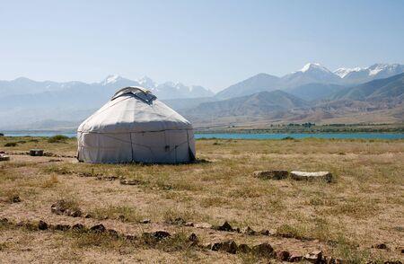 Mountain, yurta, kyrgyztan, asia, curve, circle, issik-kul Stock Photo