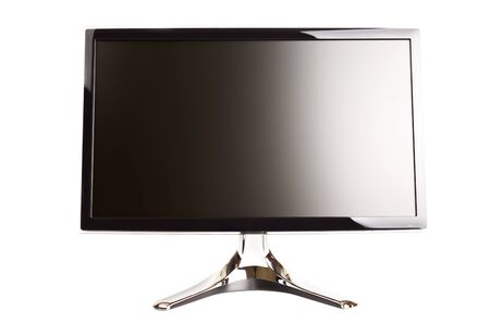 Isolated black flat LCD monitor on a white background