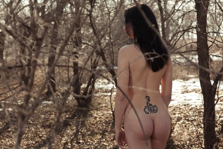 The naked girl costs in wood with a thoughtful sight, through branches of trees the daylight makes the way Stock Photo