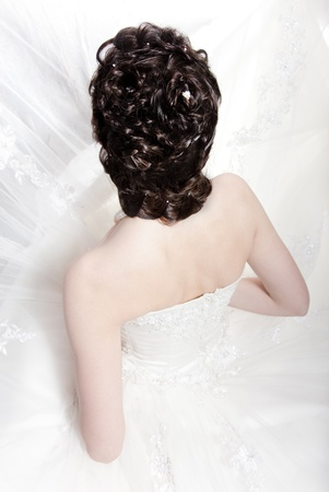 hairdress: Very beautiful girl the bride, with hairdress