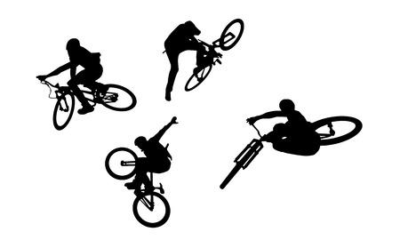 freeride: Siluetas de bicicleta de Acci�n Vectores