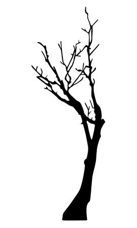 inevitability: Old dry tree silhouette Illustration