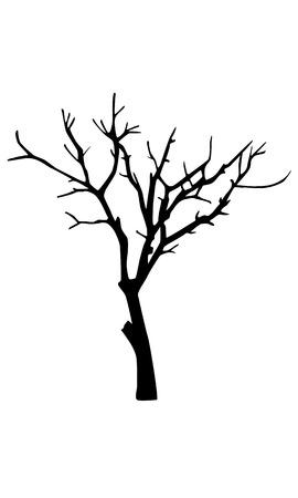 destiny: Old dry tree silhouette Illustration