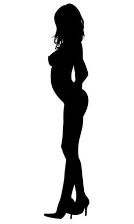 Mujer atractiva de la silueta Foto de archivo - 43883458