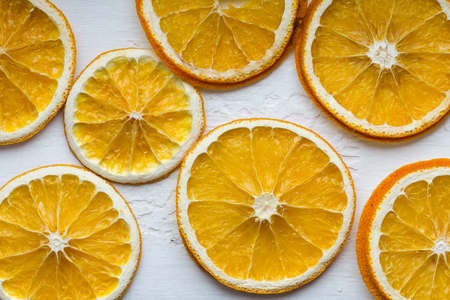 christmas scent: Dried lemons on a white background.