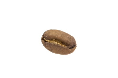 the close range: Coffee bean from close range. Isolated on white background.