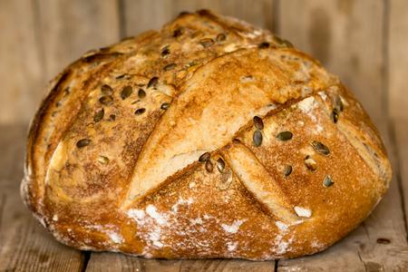 semillas de girasol: Homemade bread with sunflower seeds. Freshly baked. Foto de archivo