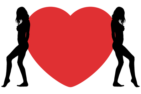 Happy Valentines Day. Big heart with silhouettes of women.