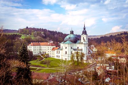 Castle and church of the Virgin Mary. Krtiny, Czech Republic.
