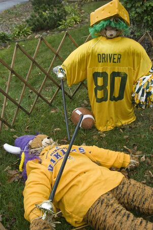 Vikings and Green Bay Packers Scarecrows photo
